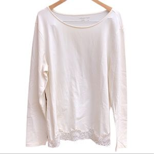 Coldwater Creek Long Sleeve Lace Trim Top